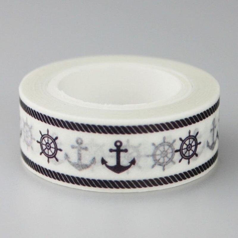 1 Pcs Hot Sale 15mm*10m Rudder & Anchor Sailor Decor Patterned Diy Japanese Washi Tape Scrapbooking Decorative Masking Tape