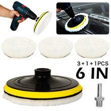 1 ensemble 6 pouces tampons en laine cirage polissage tampon de polissage roue voiture Auto voiture peinture soins polisseuse tampons