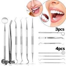 6pc/3pc dental espelho de aço inoxidável dental dentista preparado conjunto de ferramentas sonda kit de cuidados com os dentes instrumento pinça enxada foice scaler