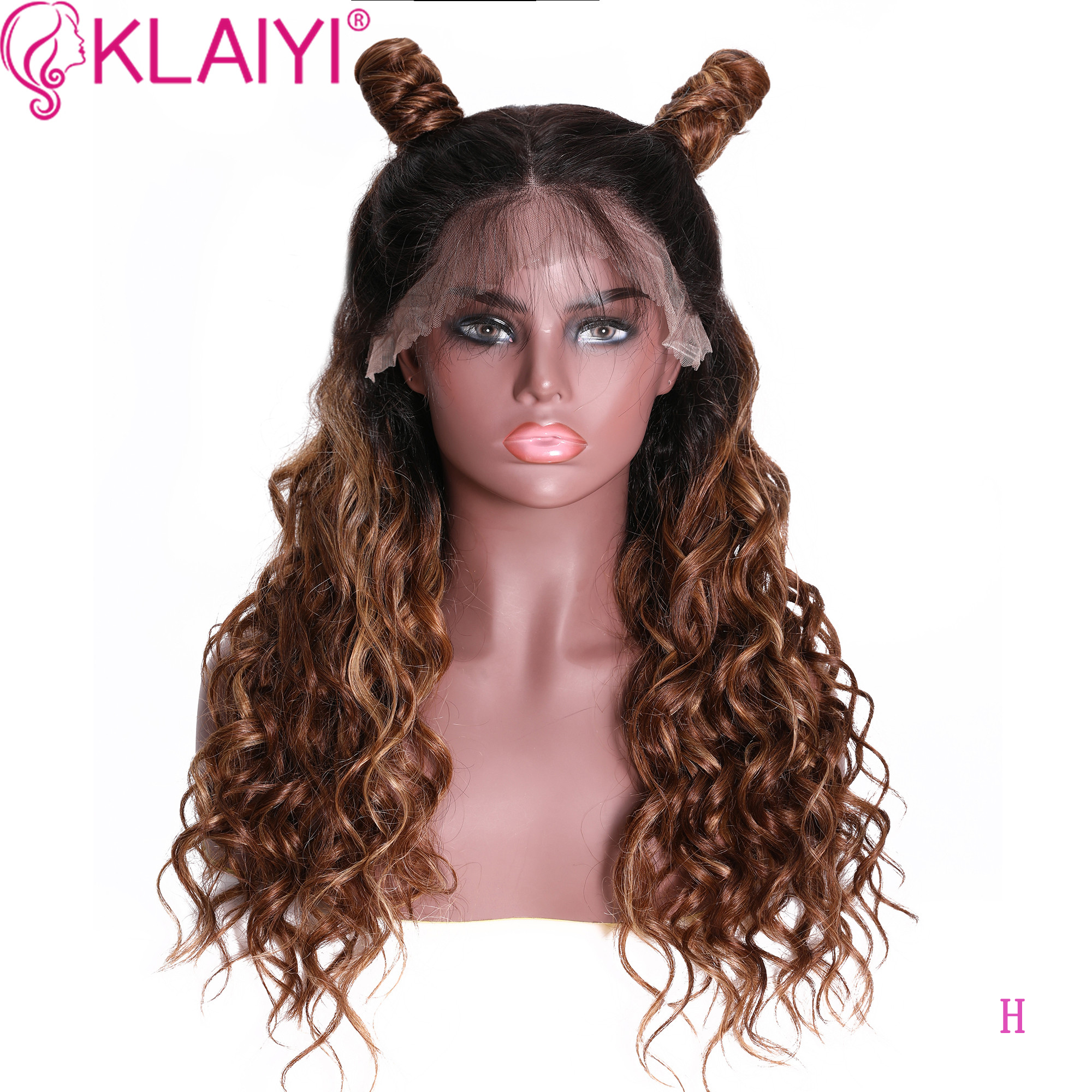 Klaiyi Hair New Curly 13*4 Lace Front Wigs T4/27 Ombre Brazilian Remy Hair With Pre-Plucked Wig 150%Denisty Human Hair Wig 12-24