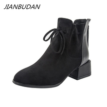 JIANBUDAN Autumn Winter fashionable Womens ankle boots Suede Comfort Chelsea Boots Plush warm female Office high heels 34 42