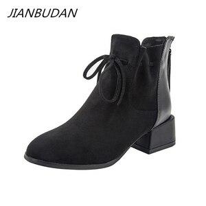 Image 1 - JIANBUDAN Outono Inverno moda das Mulheres ankle boots de Camurça Conforto Chelsea Botas quentes de Pelúcia feminino Escritório saltos altos 34 42