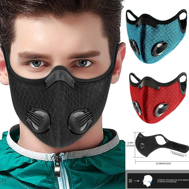 Outdoor Bicycle Bike Sport Face Mask Activated Carbon PM2.5 Mouth Mask Bacteria Proof Protection Mask Sky Blue Mouth-muffle #12 3