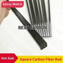 Varilla de fibra de carbono sólido cuadrada pultruida, longitud de 500mm, envío gratis
