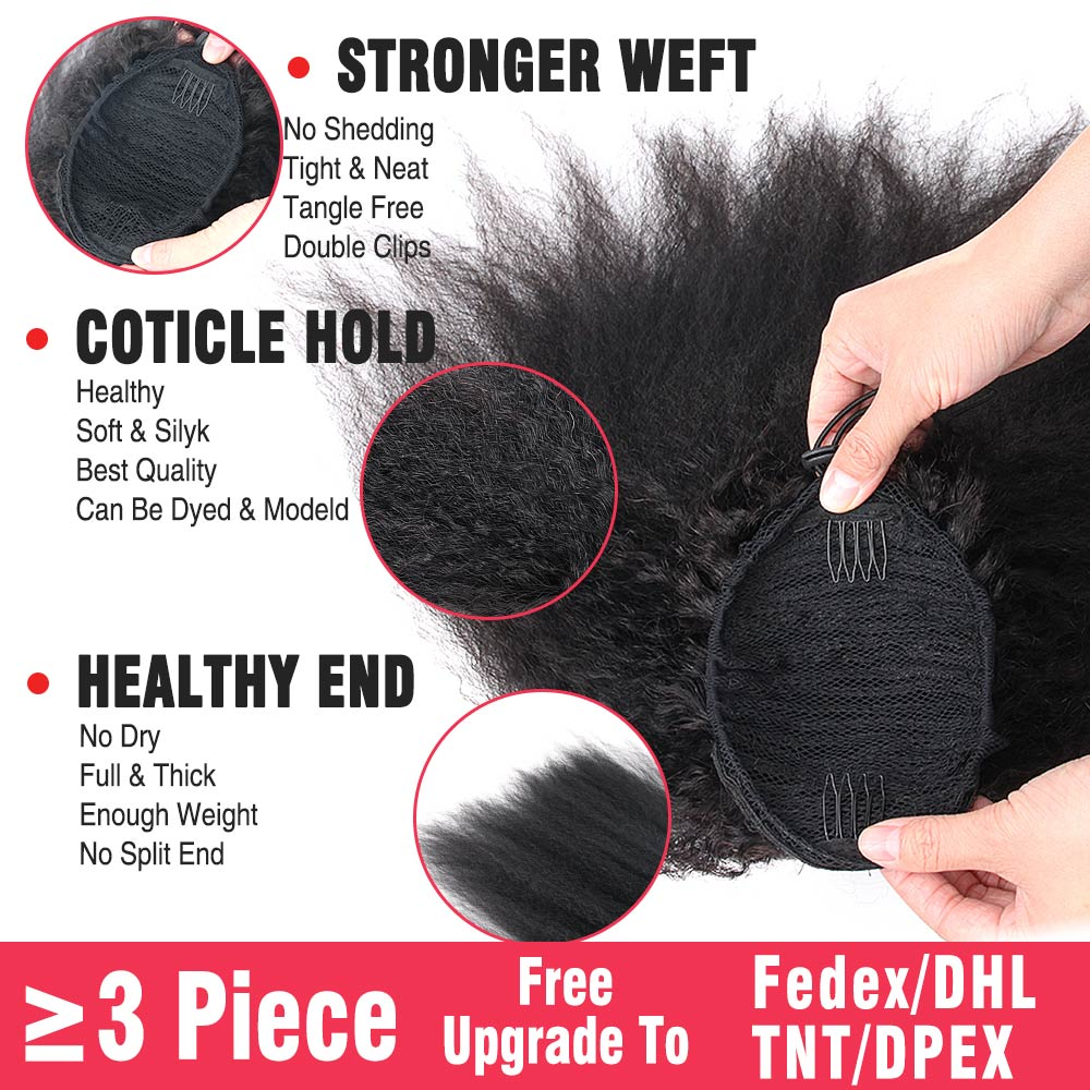 Kinky Straight Brazilian Human Hair Drawstring Ponytail Clip In Hair Extension Coarse Yaki Natural Color Remy Afro Ponytail