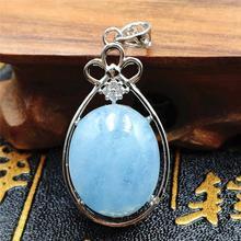 Doğal mavi Aquamarine kolye kristal kadın erkek aşk ham malzeme 32x20mm taş 925 gümüş kolye kolye AAAAA