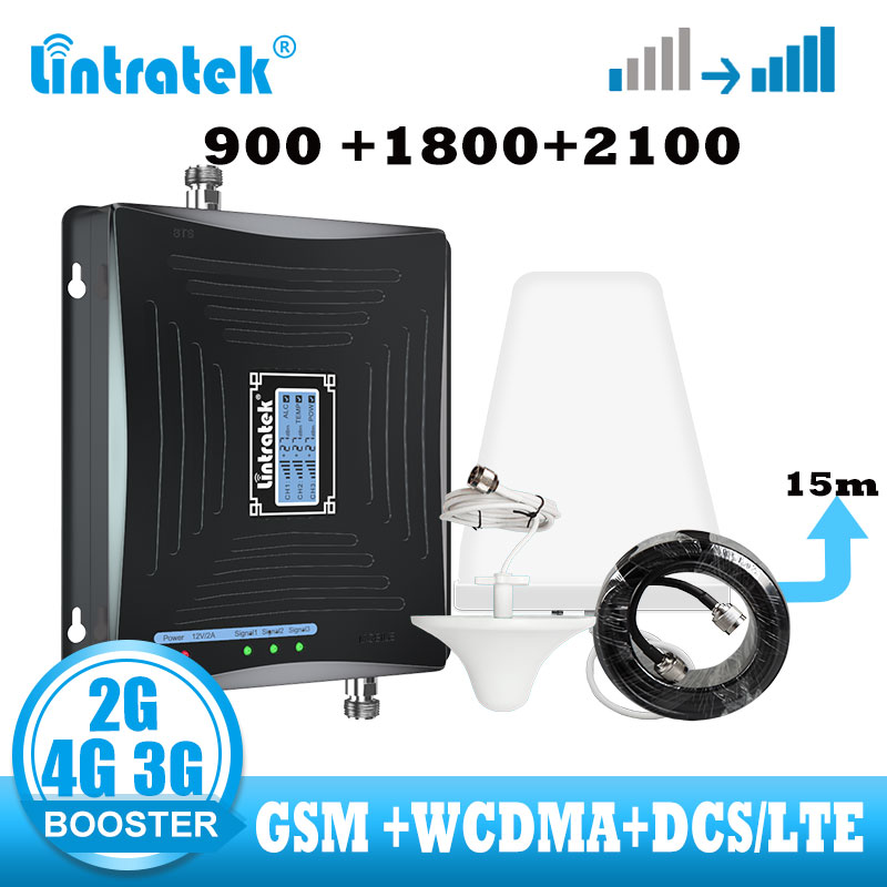 Lintratek GSM 2G 3G 4G Signal Booster DCS WCDMA LTE 4G Signal Amplifier 900 1800 2100mhz Smart Telephone Call Internet Repeater