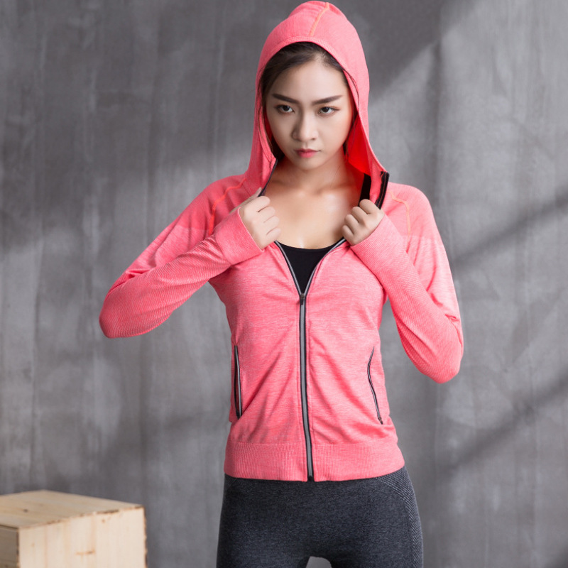 Live Benifit 2 Pieces Reduction 5 Yuan !! Sports Jackets Quick-Dry Fitness WOMEN'S Long Sleeve Hoodie Running Yoga Clothes