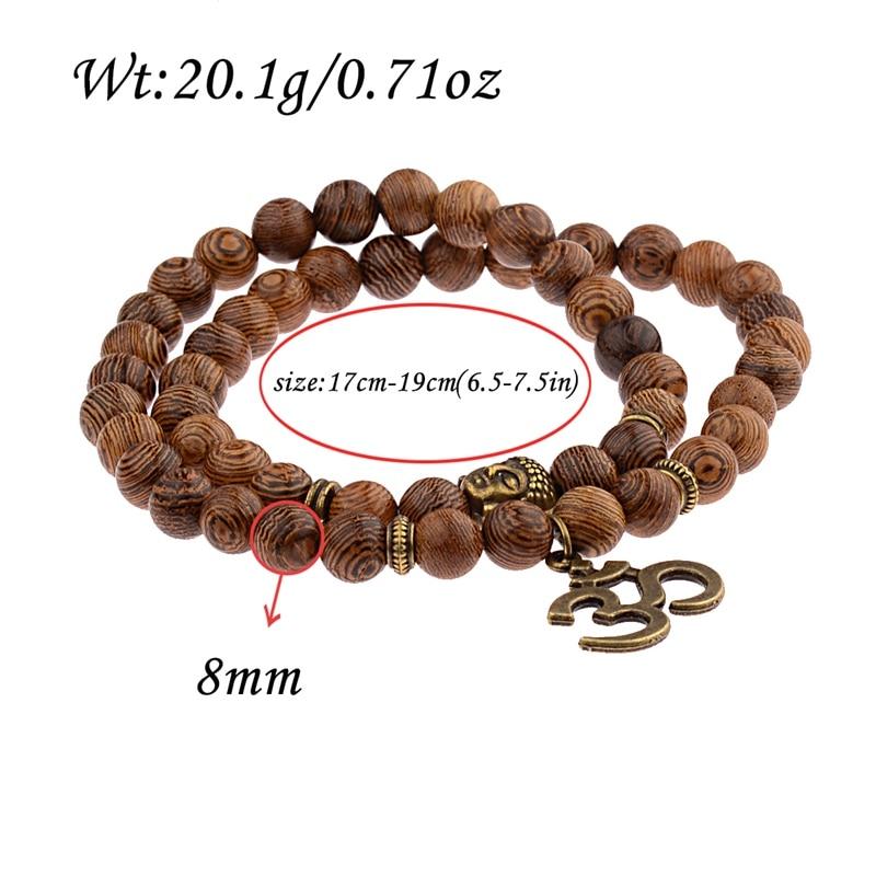 A più strati di Perline di Legno Buddha Lotus OM Braccialetto Buddista Tibetano Mala di Fascino Braccialetto Del Rosario di Yoga di Legno Per Le Donne Degli Uomini Dei Monili 2