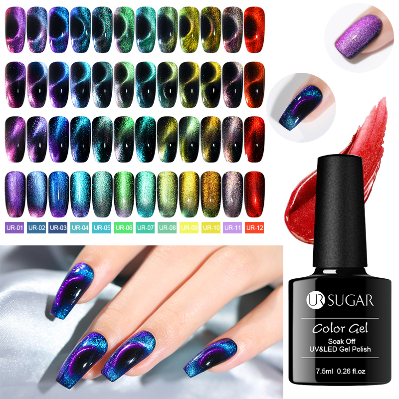 UR SUGAR 7.5ml 9D Magnetic Gel Polish Chameleon Purple Gold Color Shining Soak Off UV LED Gel Varnish Nail Art Design Gel