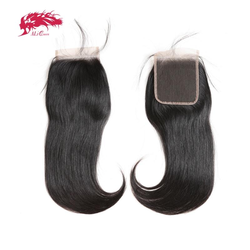 2x6 4x4 5x5 HD Кружева Закрытие бразильские прямые волосы Кружева Закрытие с предварительно выщипанные волосы Ali Queen волосы 10