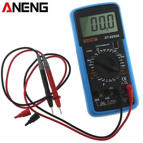 Aneng Digital Multímetro Backlight ac – dc Temperatura Amperímetro Voltímetro Tensão Corrente Ohm Tester Medidor Multimetro Dt9205a Lcd