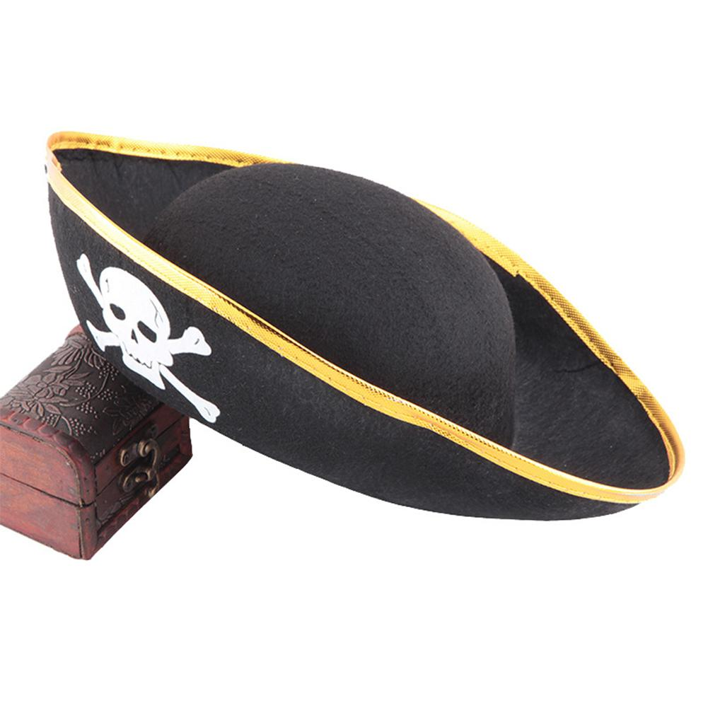 Kuulee Print Pirate Captain Hat, Christmas Halloween Masquerade Party, Flat Type Pirate Hat Performing Props