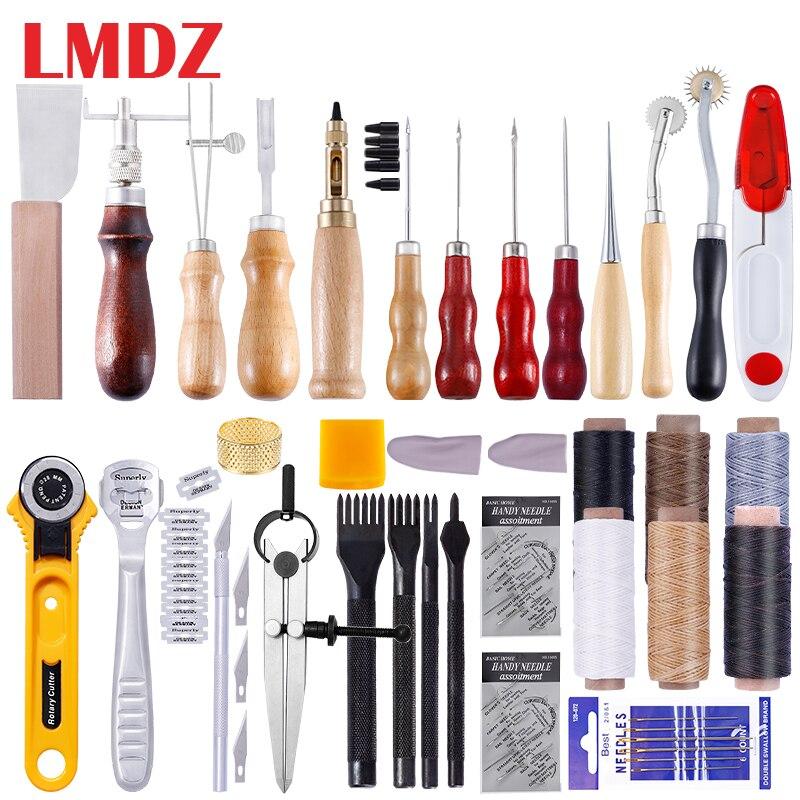 Набор инструментов для кожевенного ремесла LMDZ, Ручное шитье, прошивка, дырокол, резьба, работа, седло, аксессуары для кожевенного ремесла, ин...