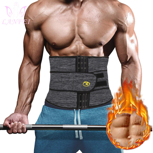 $ US $10.41 LANFEI Men Hot Neoprene Body Shaper Waist Trainer Tummy Control Belt Sauna Slimming Strap Fitness Sweat Shapewear for Fat Burner