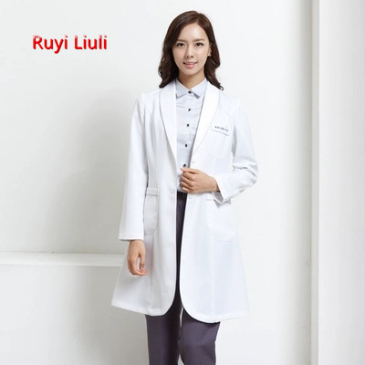 RYLL-Long Sleeve Women Medical Coat Nurse Services Uniform Scrub lace Clothes White Lab Hospital Doctor