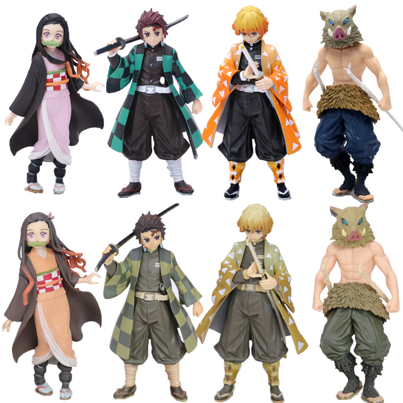 18cm Anime Demon Slayer Kimetsu No Yaiba Zenitsu Tanjiro Nezuko Inosuke PVC Action Figures Model Toy Japan Anime Toy Doll Gift