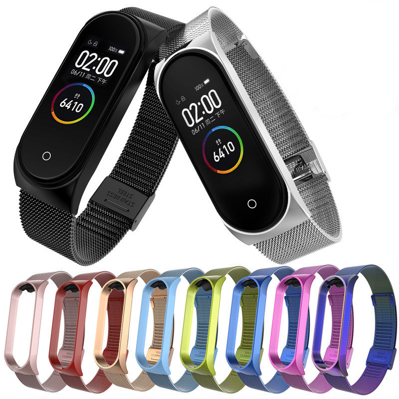 Bracelet Strap Mi-Band Stainless-Steel Metal for Compatible 4 title=