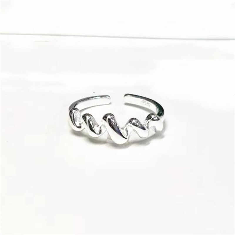 New Personality Wave Sweet Creative 925 Sterling Silver Jewelry Temperament Thread Fashion Popular Opening Rings SR457