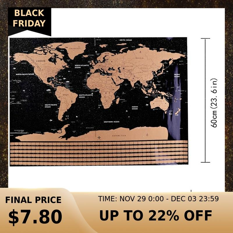 1 Pc 82.5 X 59.4cm Black World Map Scratch Off Personalized World Map Erasable Creative Scratch Off Map Decoration Wall Stickers