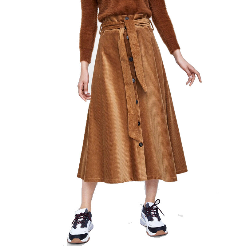 2018 Autumn And Winter WOMEN'S Dress New Style High-waisted Single Breasted Lace Up Detail Corduroy Skirt A- Line Long Skirts