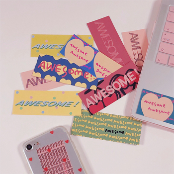 Ins Pink Series Simple Words Heart Decorative Sticker Cute Girl Laptop Mobile Phone Shell Sealing Stickers Diy Kawaii Stationery
