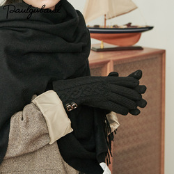 2019 Winter  Women Gloves,retro Elegant Temperament  Thickened Wool Gloves  Women ,leather Buckle Winter British Ladies Gloves