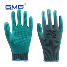ECO-Latex Gloves Durable Non-slip GMG 3 Pairs Green Diamond Palm Surface Work Gloves Construction/Mechanical/Garden Gloves