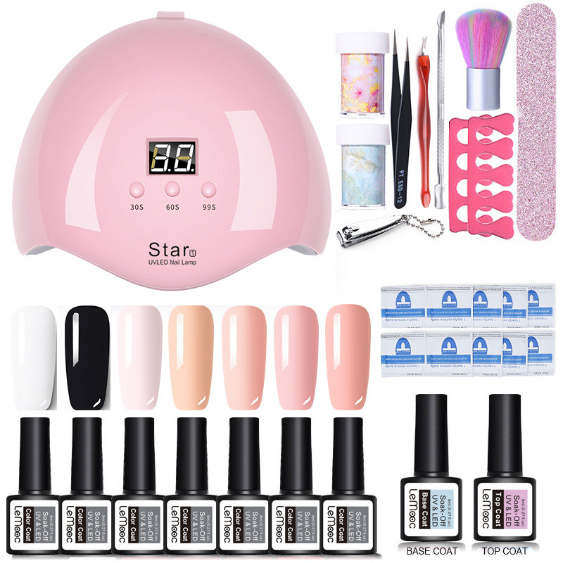 Nail Set UV LED Lamp Dryer Nail Gel Polish Kit Colorful Soak Off UV Gel Tools Set Nail Stickers For Nail Art DIY Design Tools