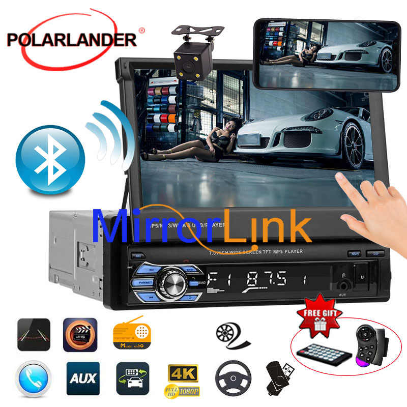 7'' 1 Din Touch Screen USB/SD/AUX/EQ/FM/TFT 3 languages Mirror Link remote control overseas warehouse  Car Radio Bluetooth