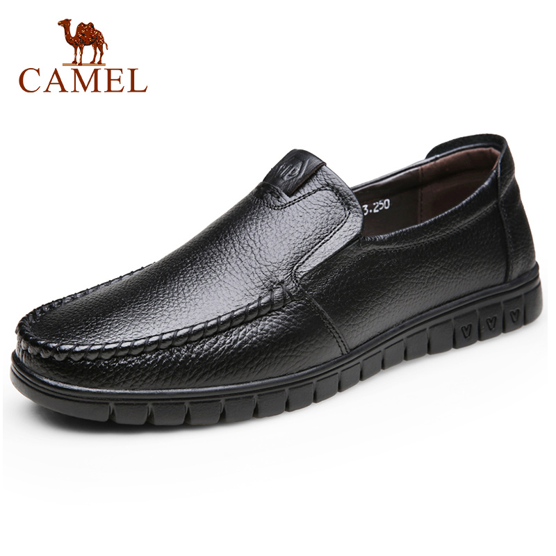 CAMEL Spring Men Shoes Leather Men's Loafers Non-slip Casual Middle-aged Wear-resistant Soft Bottom Business Shoes Man 38-45