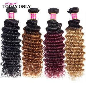 Image 1 - TODAY ONLY 1/3/4 Bundles Brazilian Hair Weave Bundles Burgundy Blonde Deep Wave Bundles Ombre Human Hair Bundles 1b/30 Remy Hair