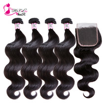 Ms Cat Hair Brazilian Body Wave 4 Bundles With 4x4 Lace Closure Free Part Human Hair Weave Bundles With Closure Remy Hair 5 Pcs/Lot(China)