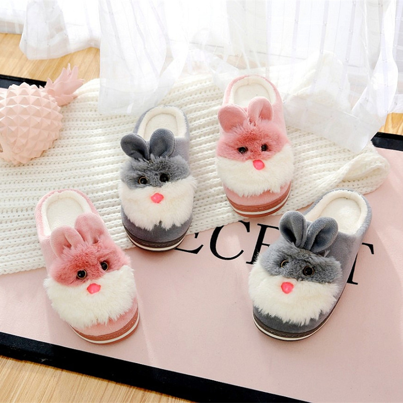 Cozy Soft Plush Casual Girls Home Shoes FAY WATERS Animal Cute Bunny Indoor Women Slippers