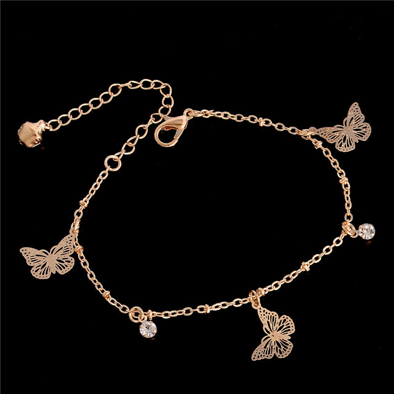 Butterfly Ankle Bracelet Gold Color Zircon Anklet Bracelet Summer Barefoot Beach Accessories Leg Bracelet For Women Jewelry Gift
