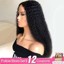 Perwersyjne kręcone 30 Cal 13x4 koronki przodu peruki dla kobiet AIRCABIN brazylijski naturalny kolor Remy ludzki włos Glueless zamknięcie koronki peruki