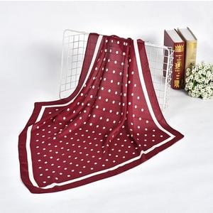 Image 4 - נשים מנוקדת מודפס רך רב תכליתי hankerchief צעיף femme מוסלמי חיג אב לעטוף בנדנה חיקה משי כיכר ראש צעיף