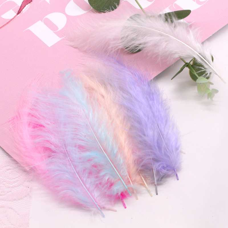 4-6 Inch 10-15CM Turkey Marabou Feathers White Pink Plume Fluffy Wedding Dress DIY Jewelry Decoration Accessories Feather  50pcs