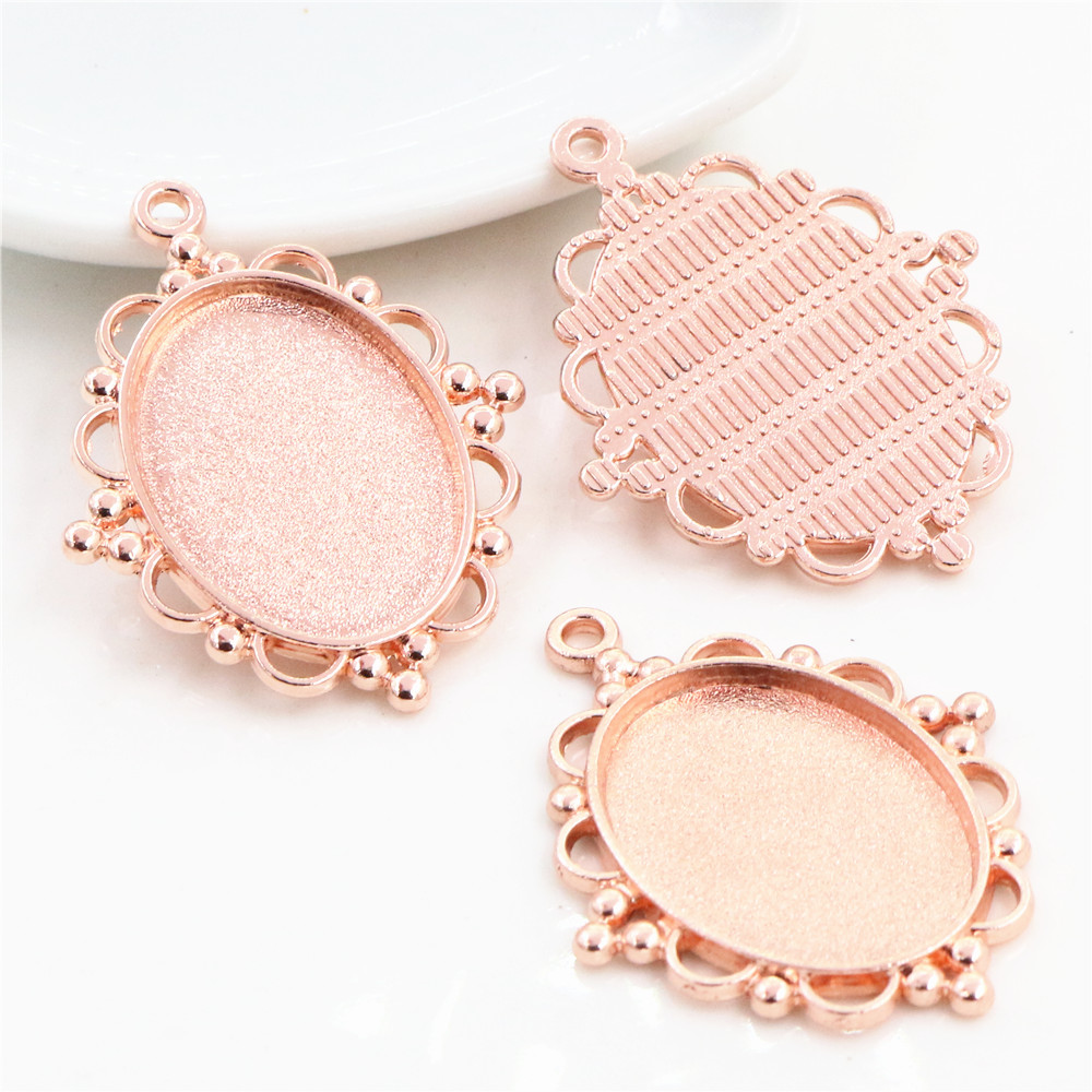 4pcs 18x25mm Inner Size Rose Gold Color Classic Style Cameo Cabochon Base Setting Charms Pendant Necklace Findings  (C1-18)
