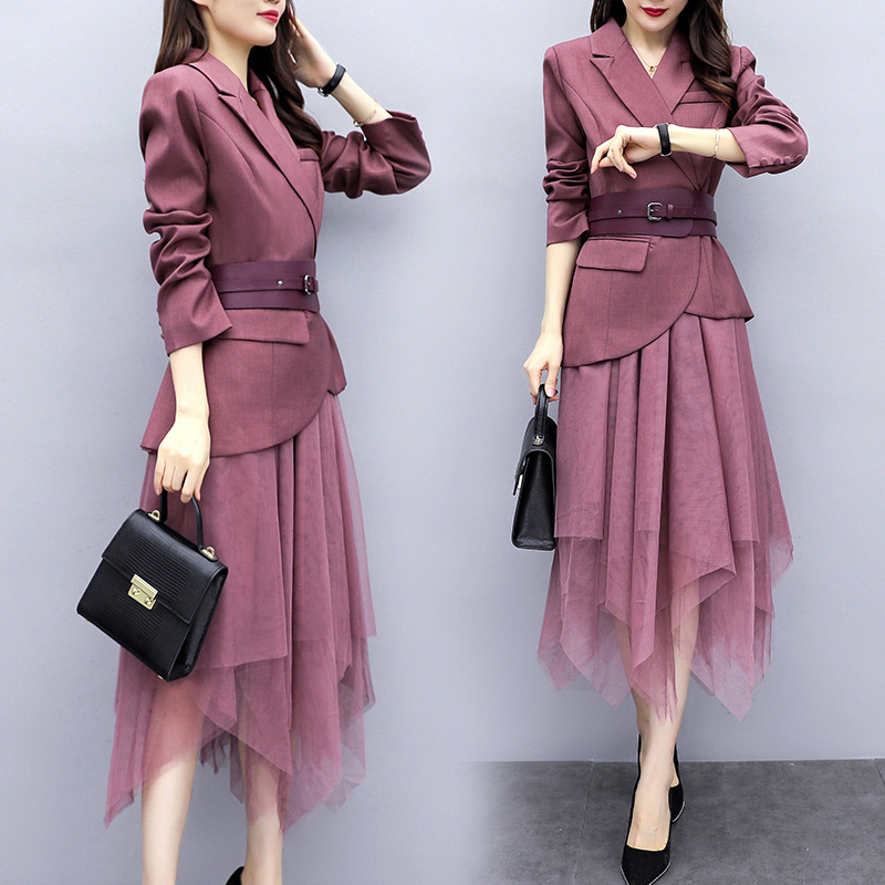 Elegant Women's Skirt Suit Two-piece 2019 New Autumn Korean Version Of The Slim Belt Casual Ladies Blazer Casual Mesh Skirt