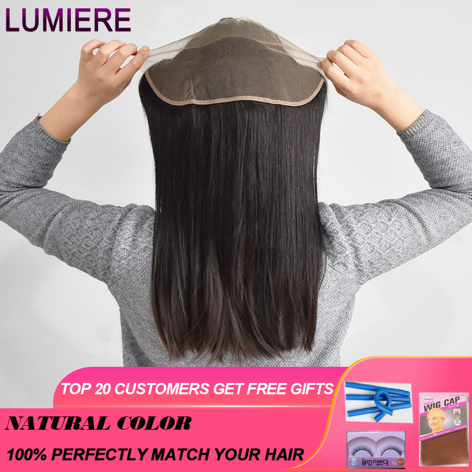Lumiere Hair High Brazilian Straight 3 Bundles With Frontal Human Hair Weave Bundles 13x4 Lace Frontal With Bundles Non Remy