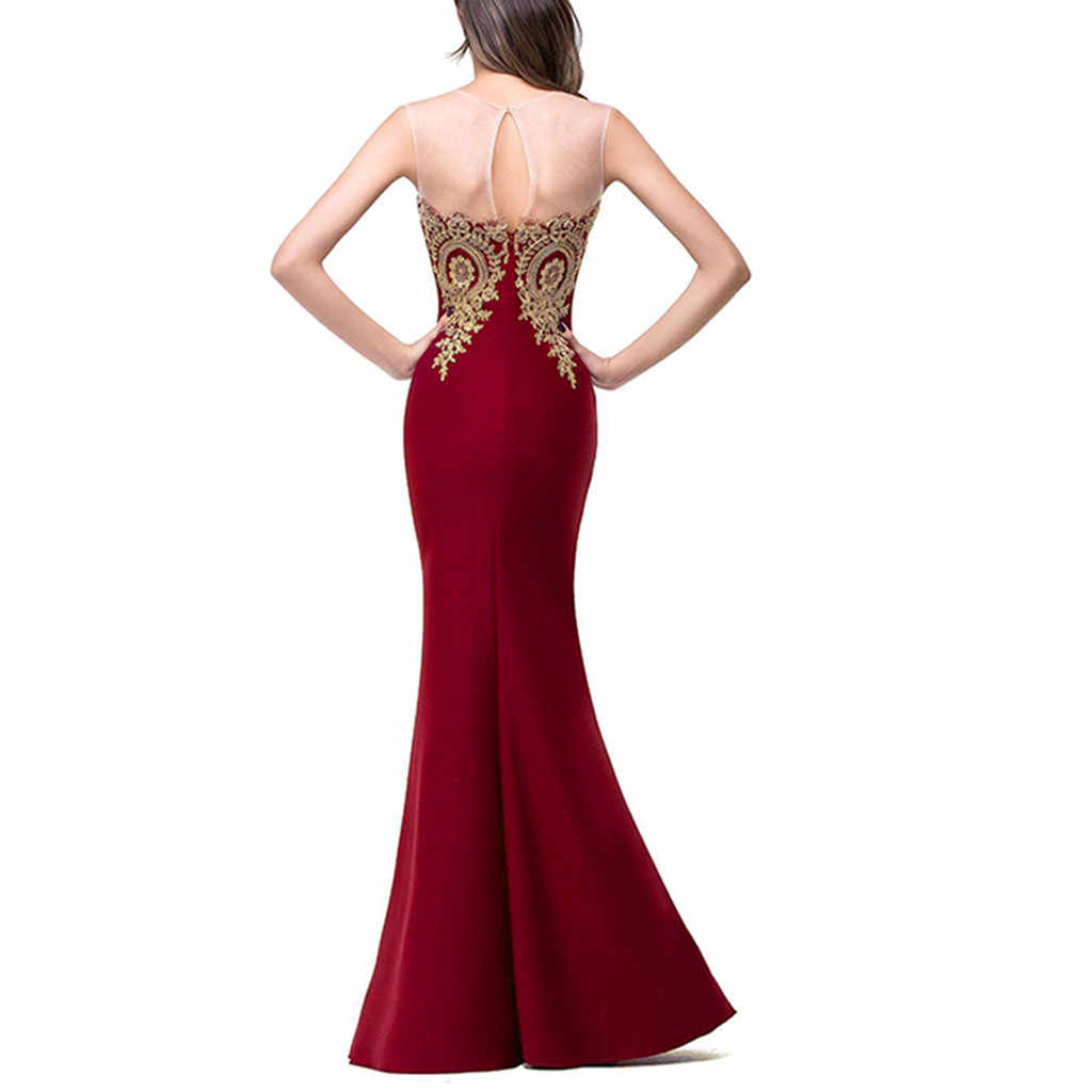 Elegant Party Night Mermaid Dress For Women Sexy Fashion Sleeveless Mesh Gold Line Patchwork Long Dress Bodycon Slim Vestido