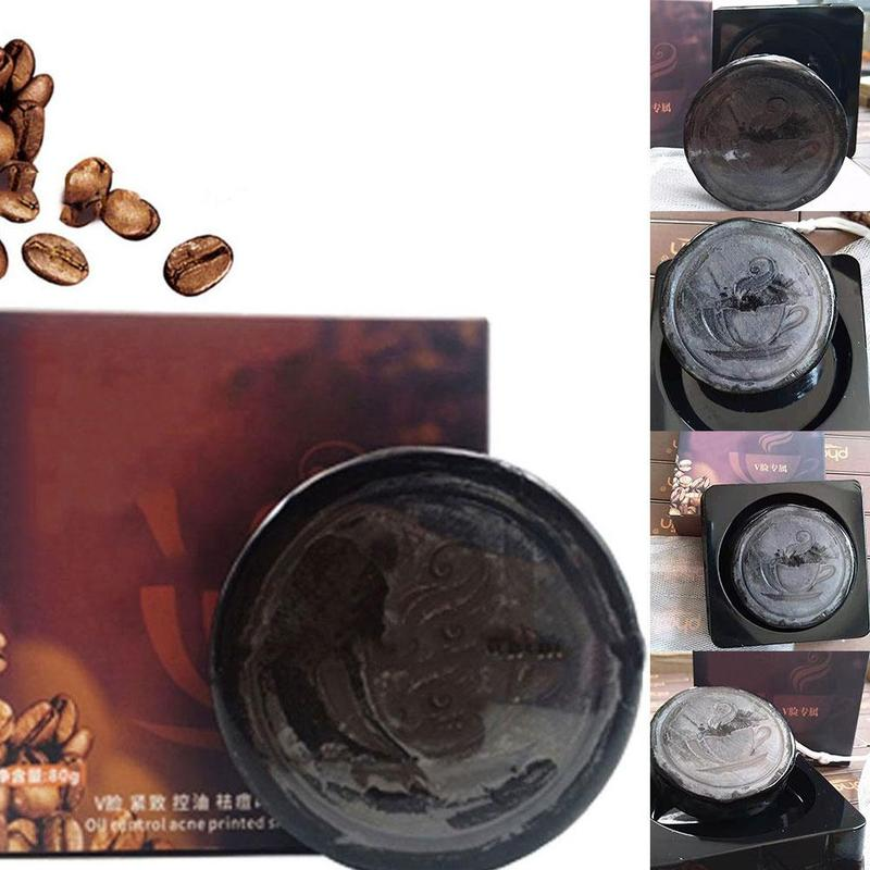 V Face Coffee Handmade Clean Facial Soap Deep Cleansing Black Soap Oil Control Lifting Firming Face Bath Skin Care Ace Soap