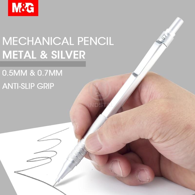 M & G métal argent crayon mécanique 0.5mm/0.7mm plomb professionnel automatique crayons étudiant dessin pour fournitures de bureau scolaire