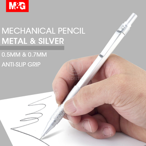M&G Metal Silver Mechanical Pencil 0.5mm/0.7mm lead professional automatic pencils student drawing for school office supplies