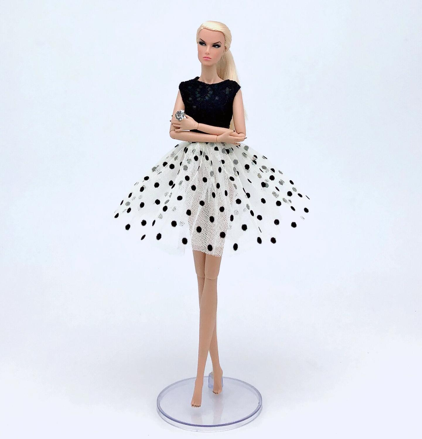 Office Outfit Wave Point Dress For Barbie 1/6 Doll Casual Wear Accessories Clothes Play House Dressing Up Costume Kids Toys Gift
