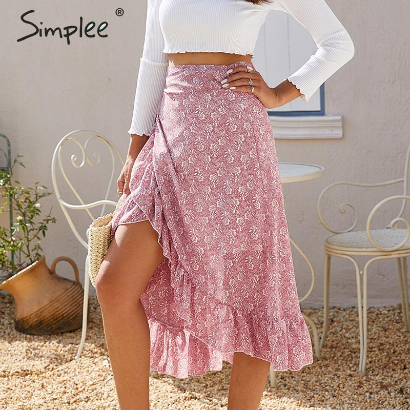 Simplee Elegant Ruffled Bow Tie Midi Skirt Women High Waist Casual Streetwear Female Wrap Skirts Autumn Ladies Vintage Skirts