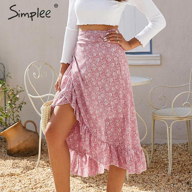 Simplee Elegant ruffled bow tie midi skirt women High waist casual streetwear female wrap skirts Autumn ladies vintage skirts