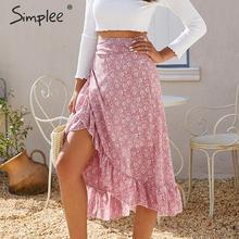 Simplee Falda midi elegante con lazo y volantes para mujer, ropa de calle informal de cintura alta, abrigo para mujer, faldas vintage para otoño