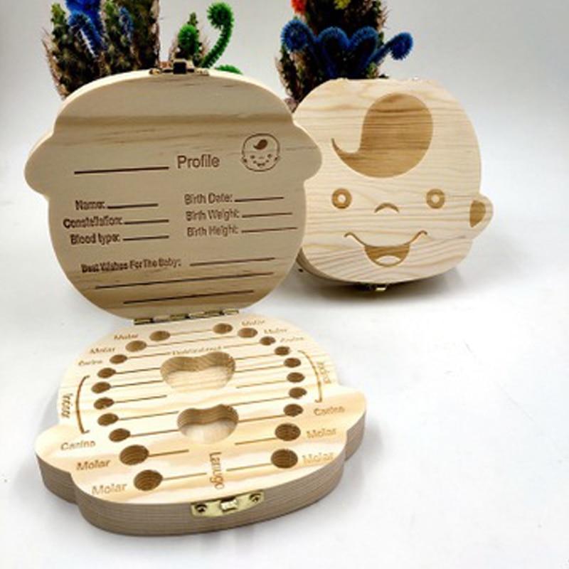 Wooden Baby Girl Tooth Storage Box Dutch/Spanish/French Teeth Umbilical Lanugo Organizer Gift Keepsakes Save Baby Boy Box